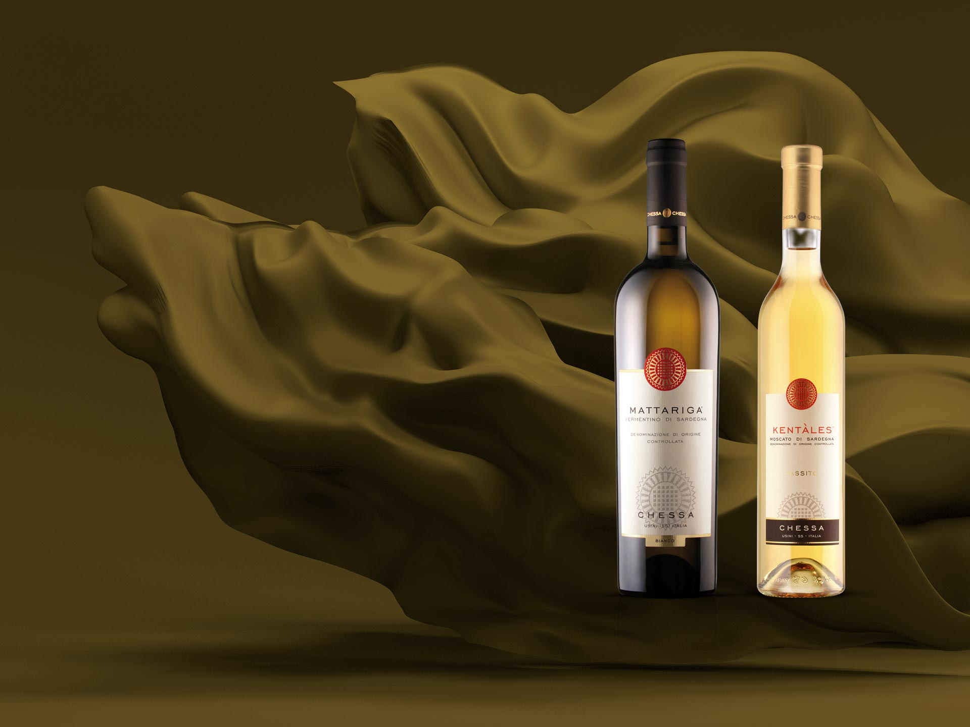 Packaging design etichette dei vini Cantine Chessa