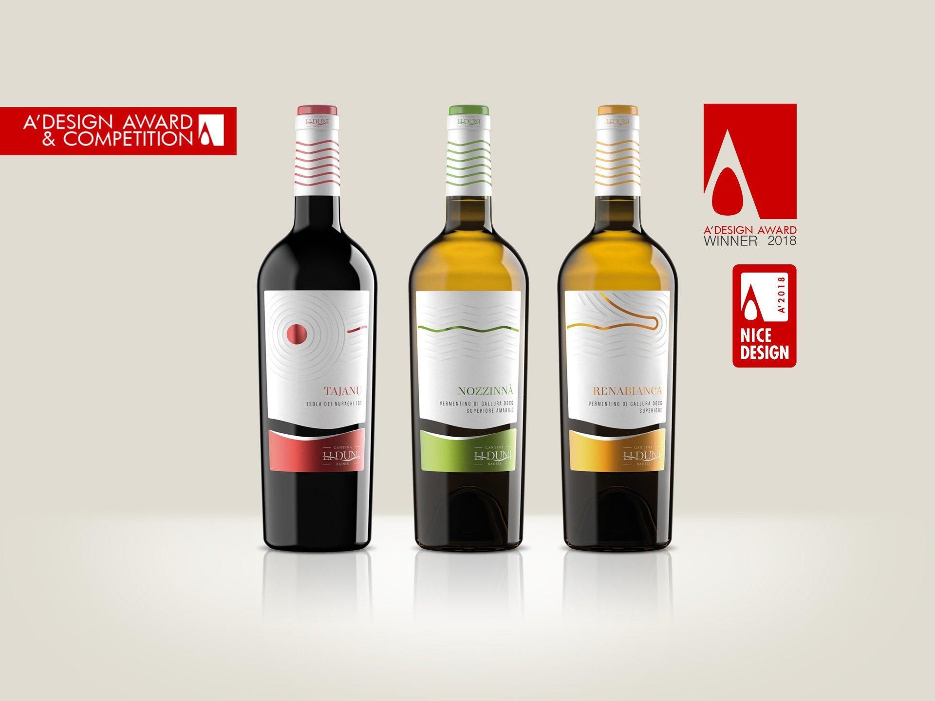 Design etichette dei vini della Linea Le Sabbie di Li Duni