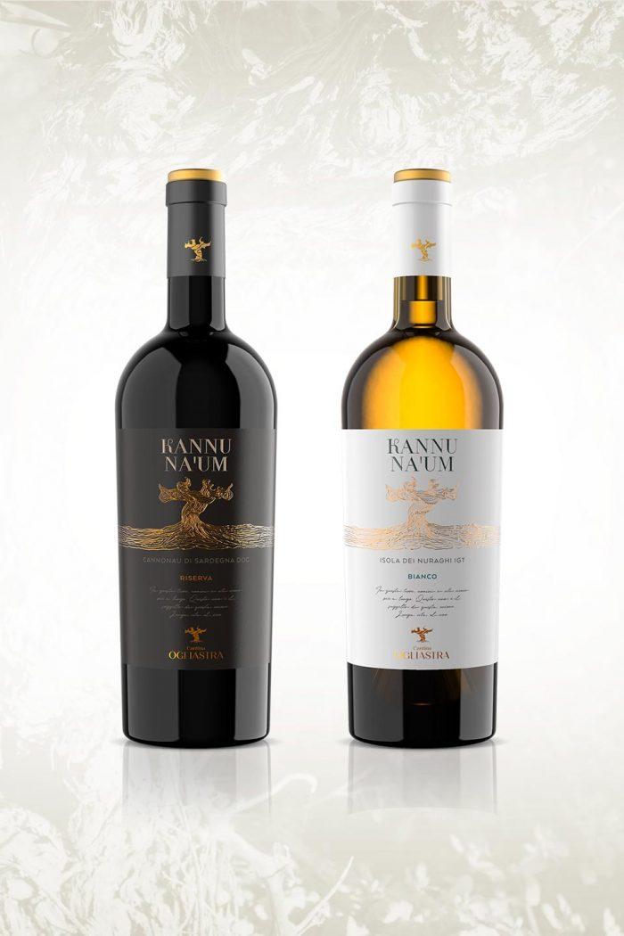 Progetto di packaging design per le etichette dei vini Kannu Na 'Um - Cantina Ogliastra